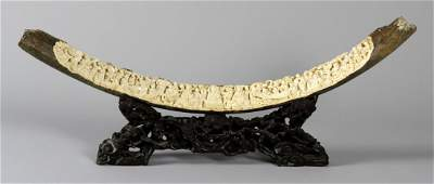 Chinese Carved Fossilized Tusk