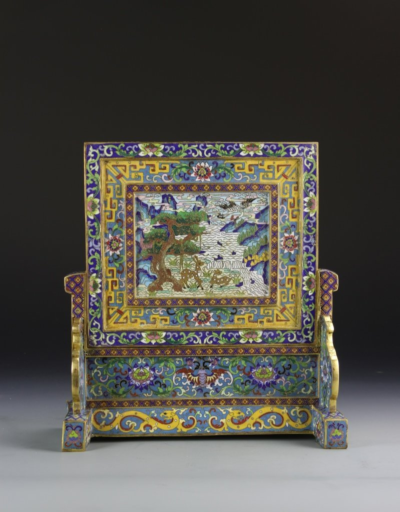 Chinese Cloisonne Table Screen