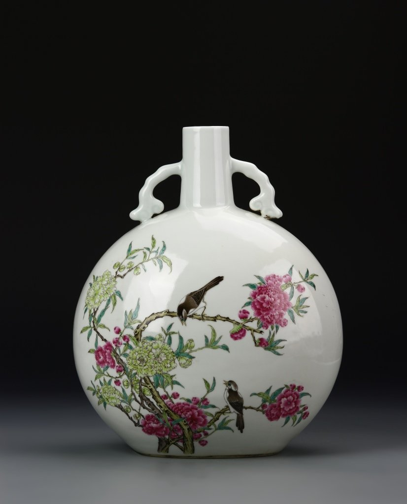 Rare Chinese Famille Rose Moon Flask