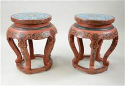 Pair of Chinese Wood Cloisonne Stools