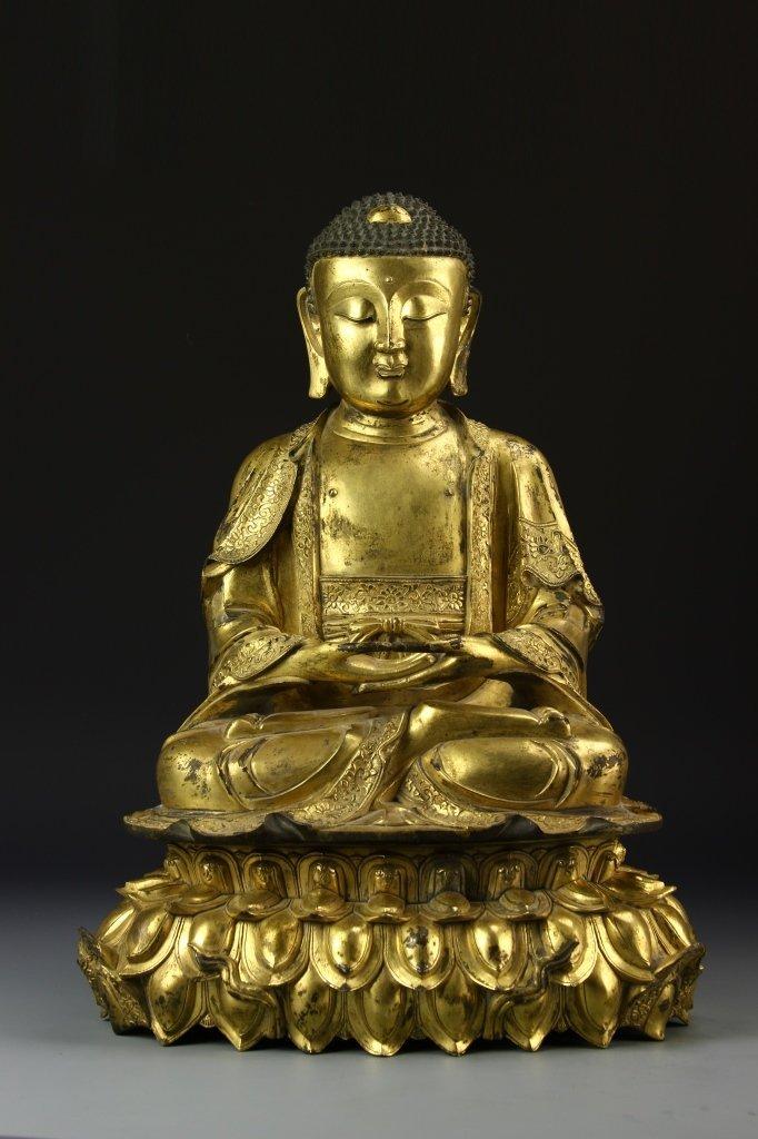 Chinese Gilt Bronze Buddha with Base