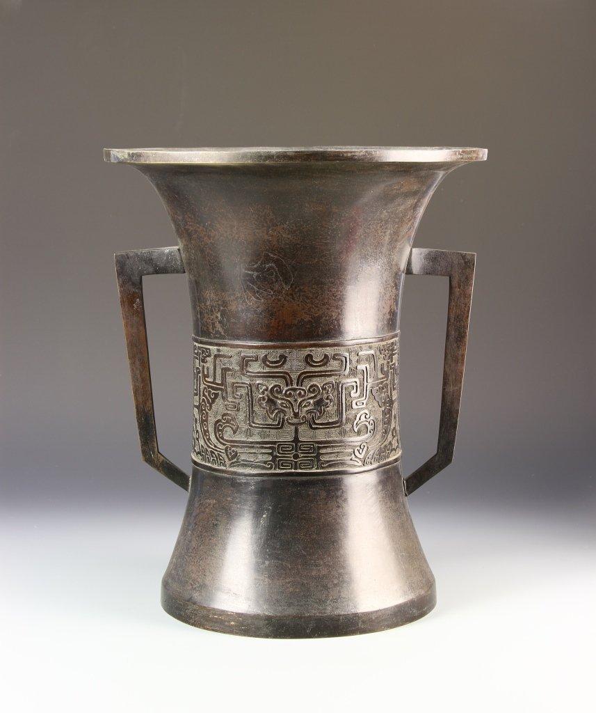 Chinese Bronze Hu Vase