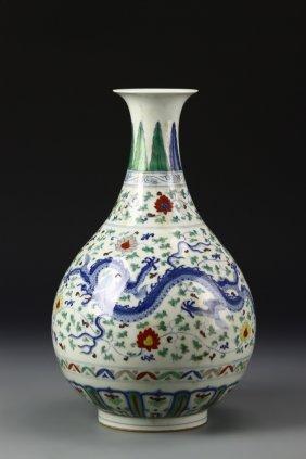 Exceptional Fine Doucai Yuhuchuan Vase