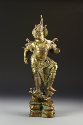Chinese Gilt Bronze Warrior