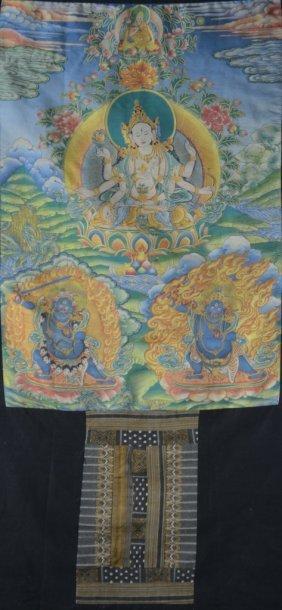 Chinese Silk Woven Thangka