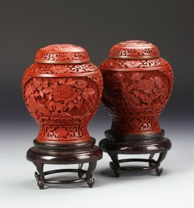 Pair Of Chinese Cinnabar Jars