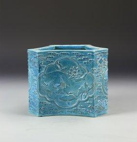 Chinese Turquoise Glaze Brush Pot