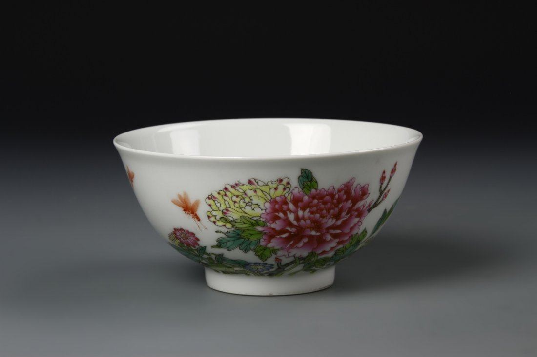 Fine Chinese Famille Rose Peony Bowl, Yungcheng