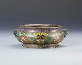 Chinese Enameled Bronze Censer