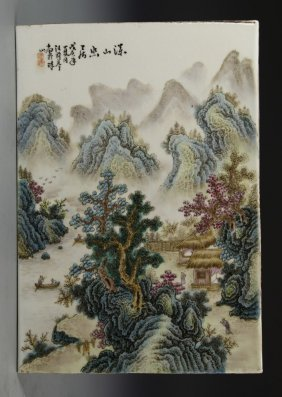 Chinese Famille Rose Square Plaque