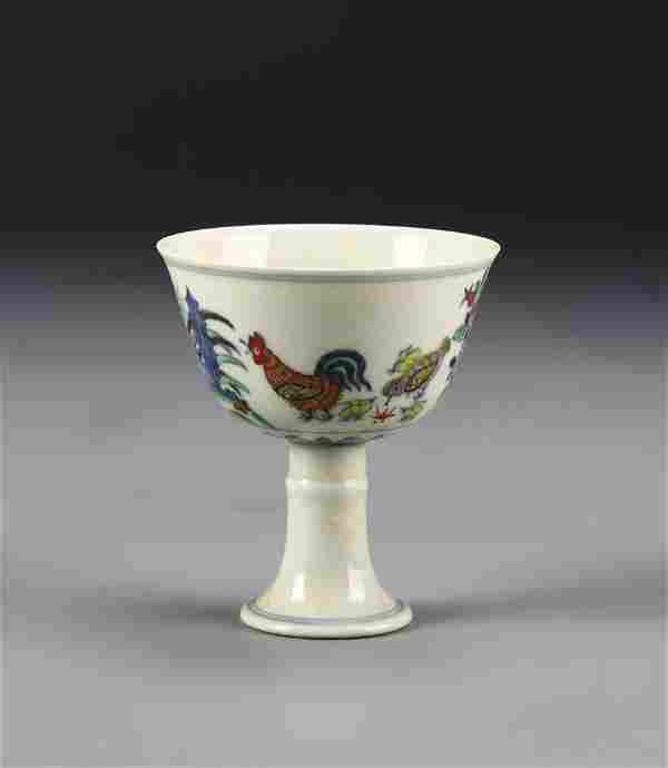 Chinese Doucai Rooster High Stem Cup