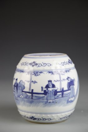 Chinese Blue And White Mini Garden Seat