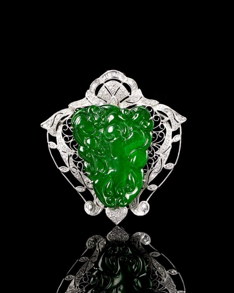 Chinese Jadeite Pin with Platinum and Diamonds