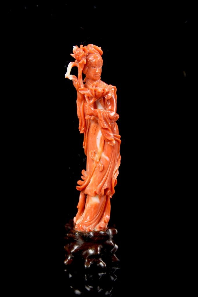 Chinese Coral Lady Figure