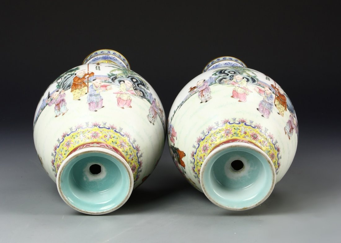 Pair of Chinese Famille Rose Vase - 6