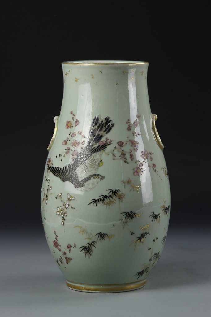 Japanese Famille Rose Celadon Vase