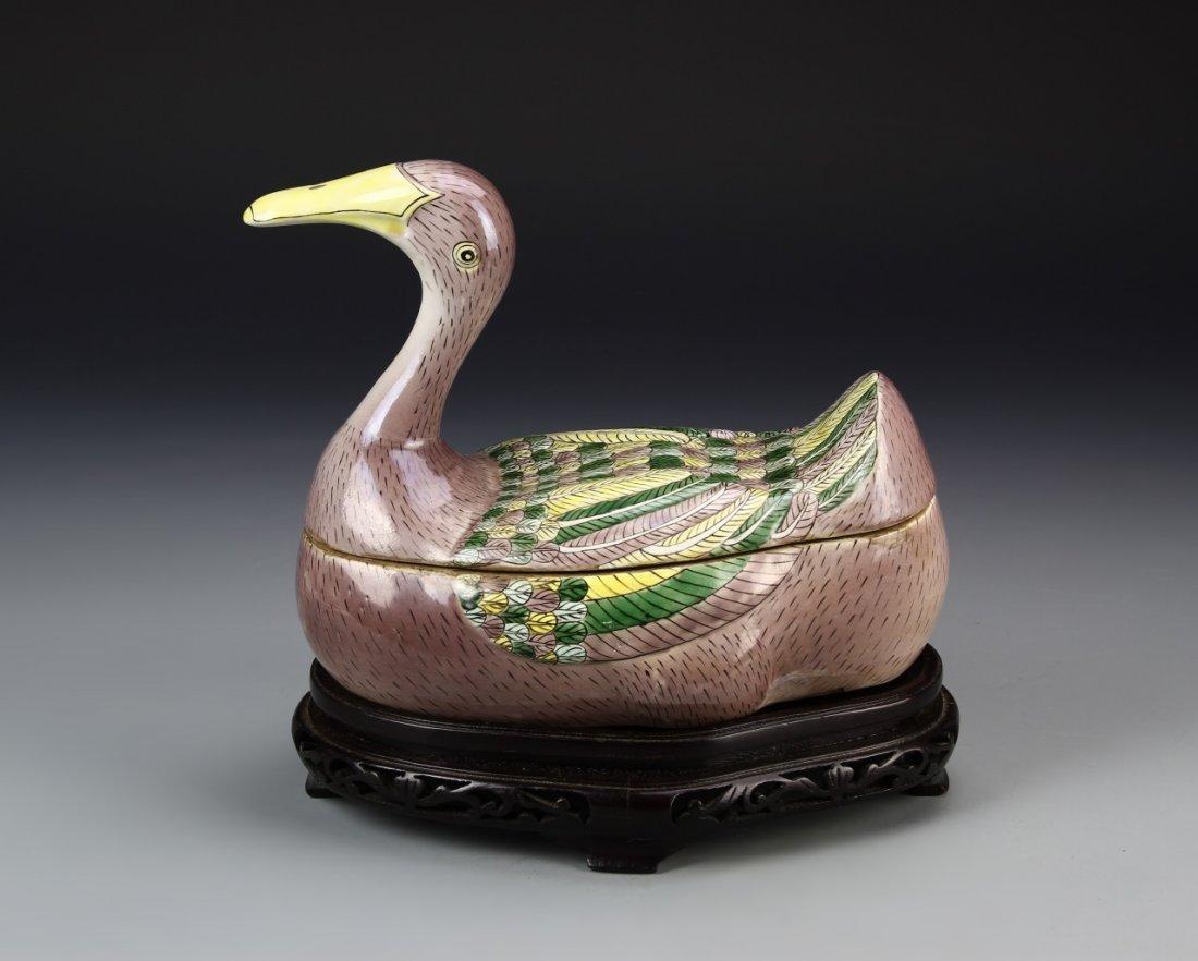 Chinese Antique Sancai Duck Box