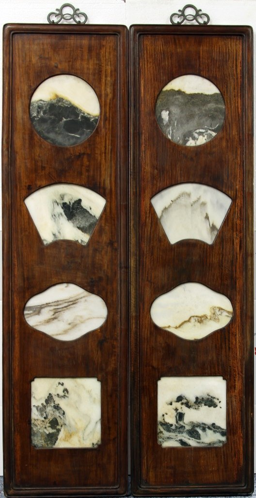 Two Chinese Wood Panels with Dali Stone Inlays
