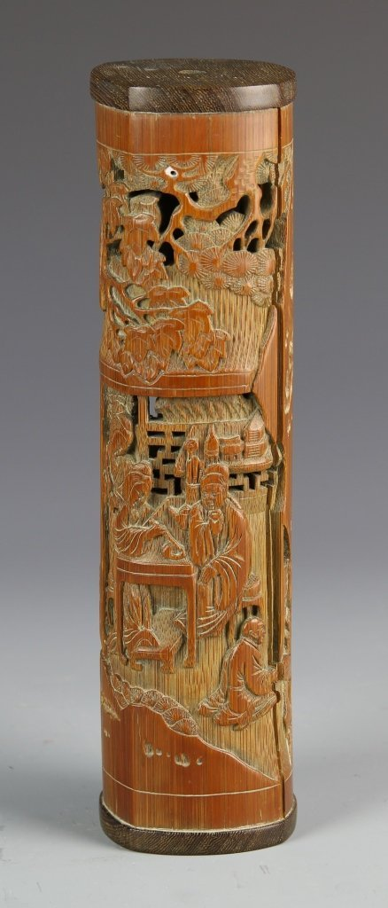 Chinese Carved Bamboo Incense Holder