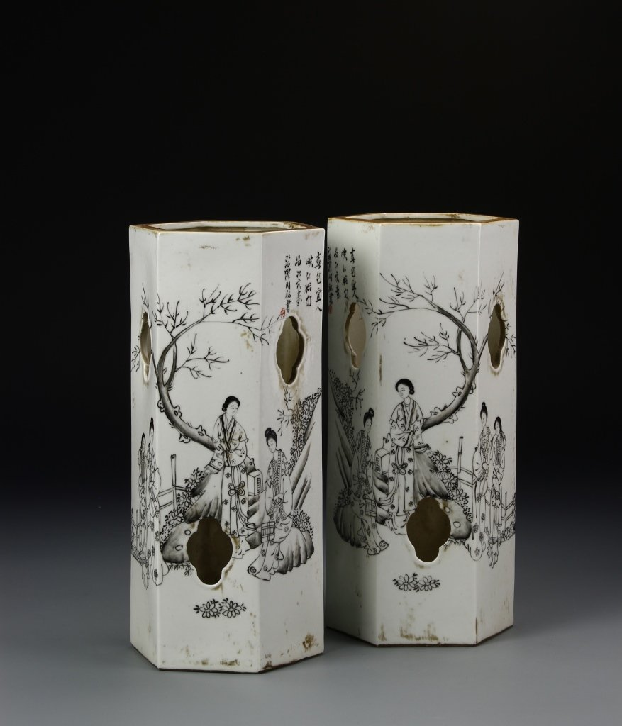 Pair of Chinese Famille Rose Hat Vases