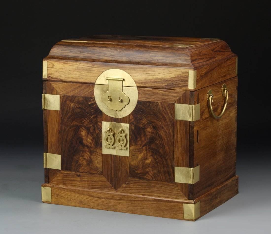 Chinese Huanghuali Marked Wooden Scholar's Box