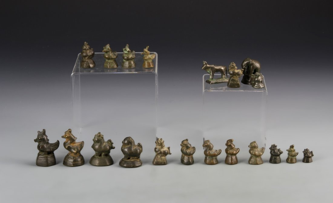Twenty Chinese Bronze Opium Weights