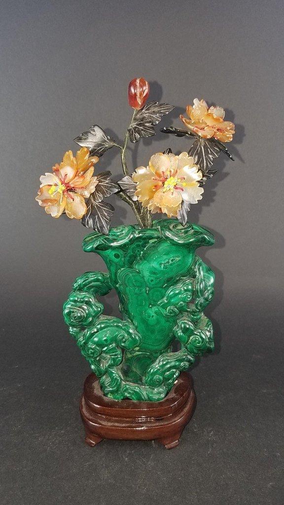Chinese Carved Malachite Vase