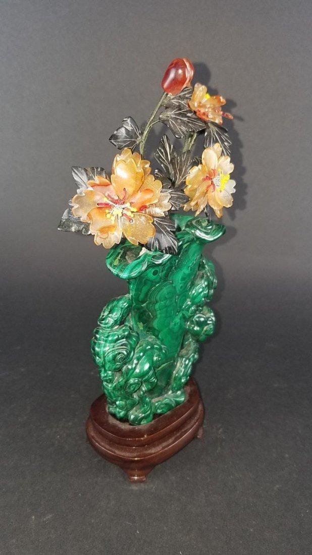 Chinese Carved Malachite Vase - 3