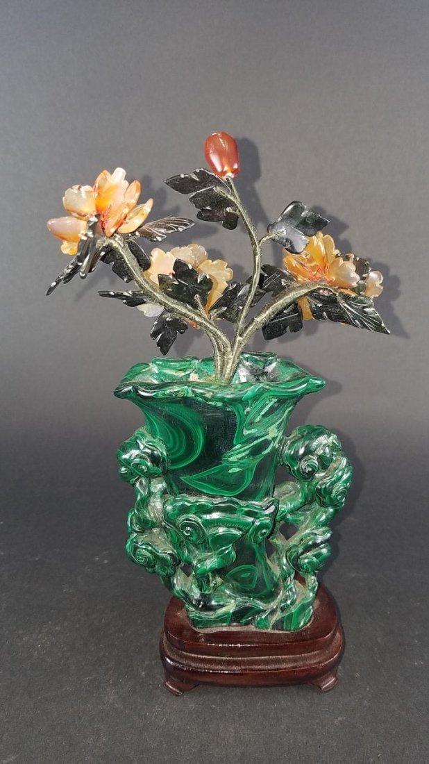 Chinese Carved Malachite Vase - 4