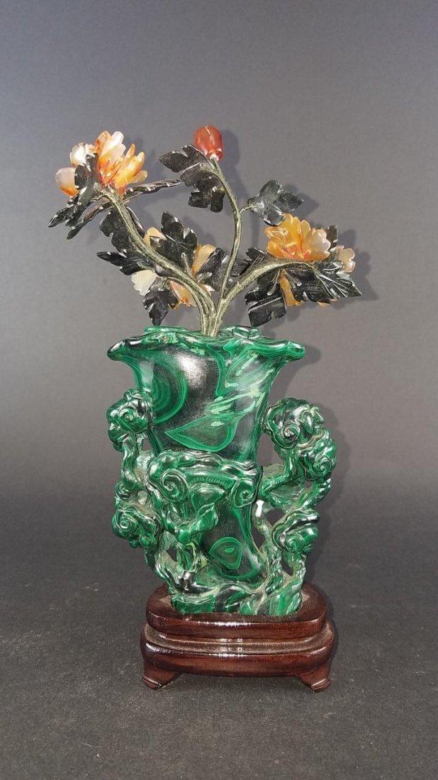 Chinese Carved Malachite Vase - 5