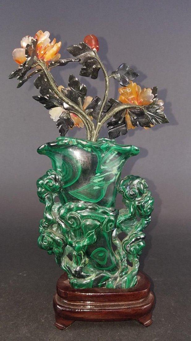 Chinese Carved Malachite Vase - 6