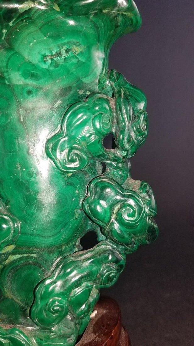 Chinese Carved Malachite Vase - 8