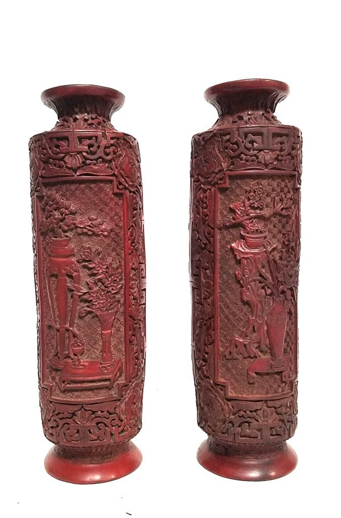 Pair of Chinese Cinnabar Lacquered Vases