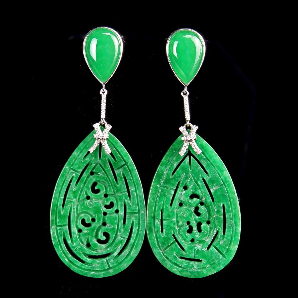 Pair of Chinese Jadeite and White Gold Earrings