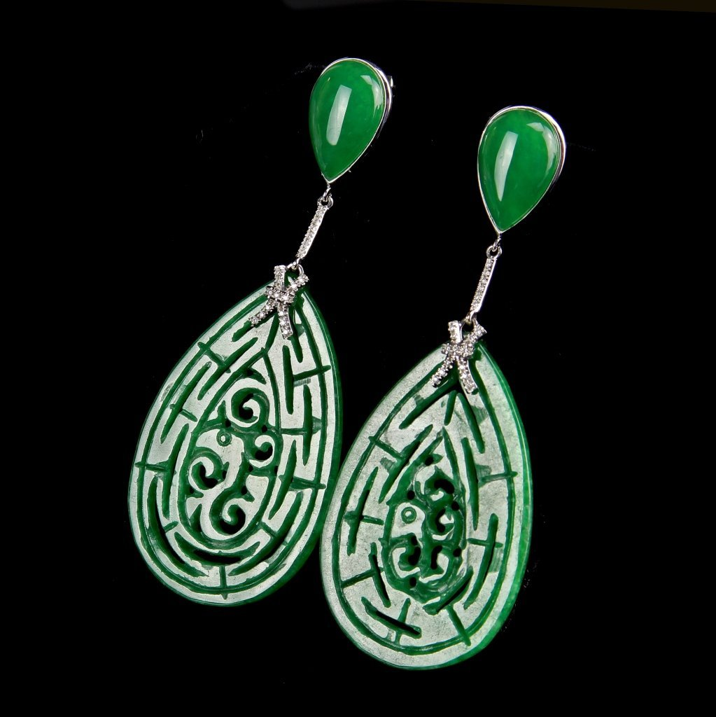 Pair of Chinese Jadeite and White Gold Earrings - 2