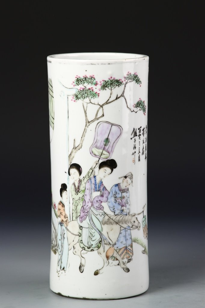 Chinese Famille Rose Hat Stand - 2