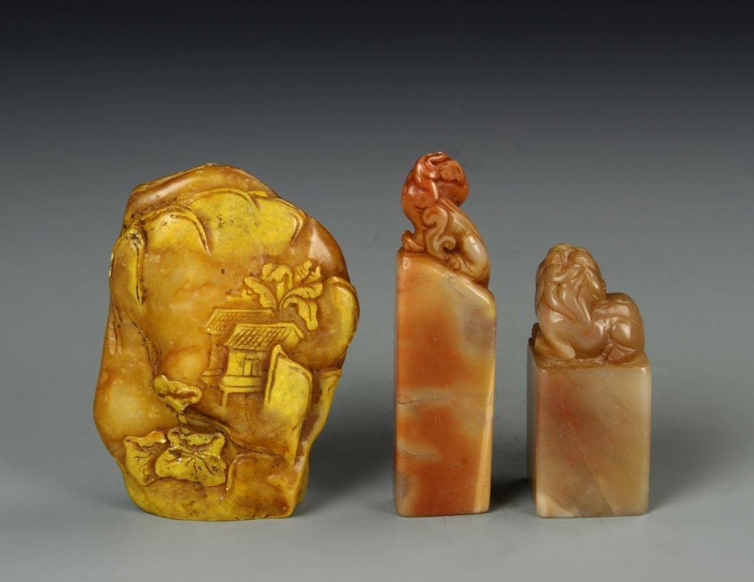 Three Chinese Stone Seal Chops - 2