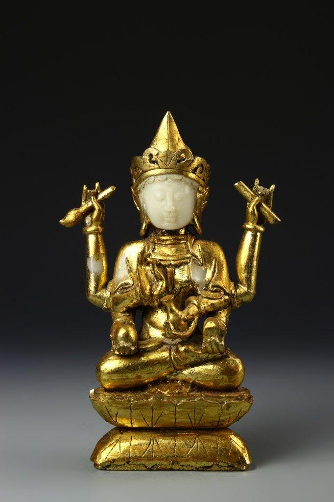 Chinese Gilt Jade Buddha