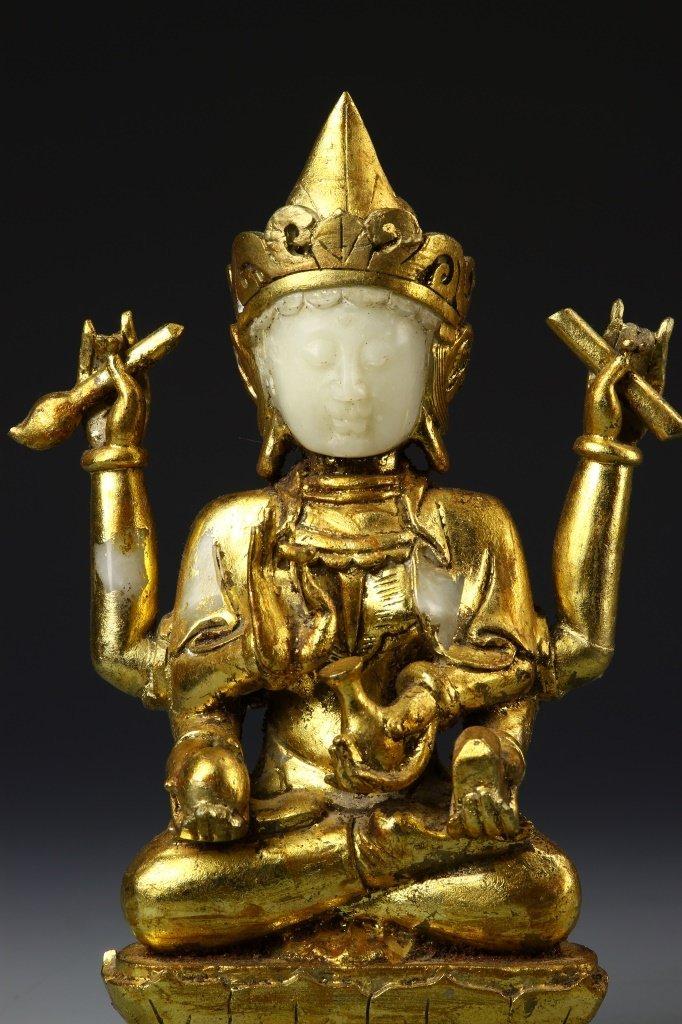 Chinese Gilt Jade Buddha - 2