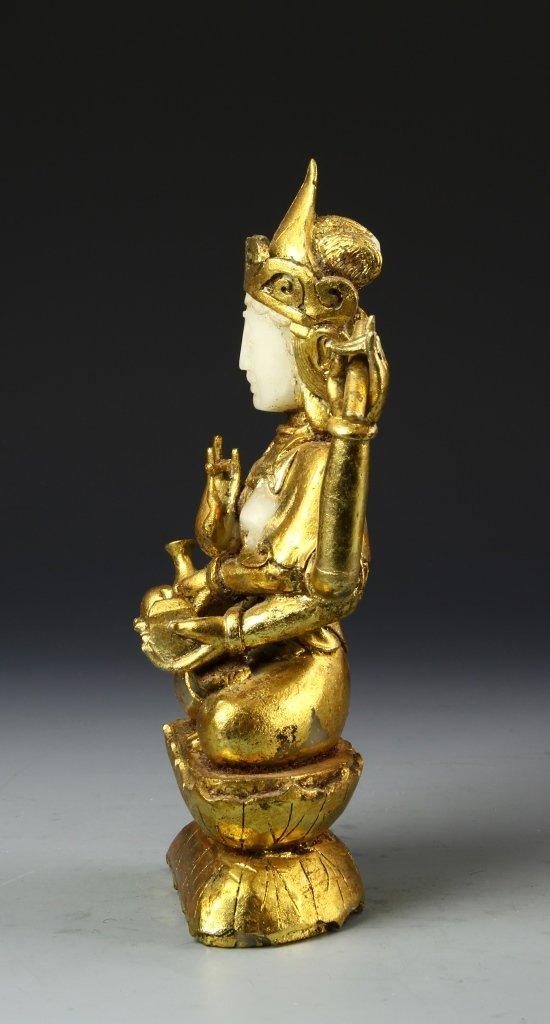 Chinese Gilt Jade Buddha - 3