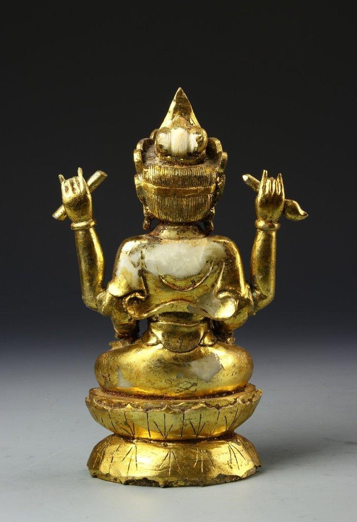 Chinese Gilt Jade Buddha - 4