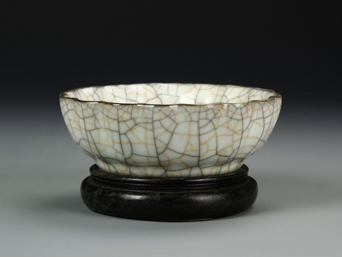 Chinese Crackled Foliate Bowl