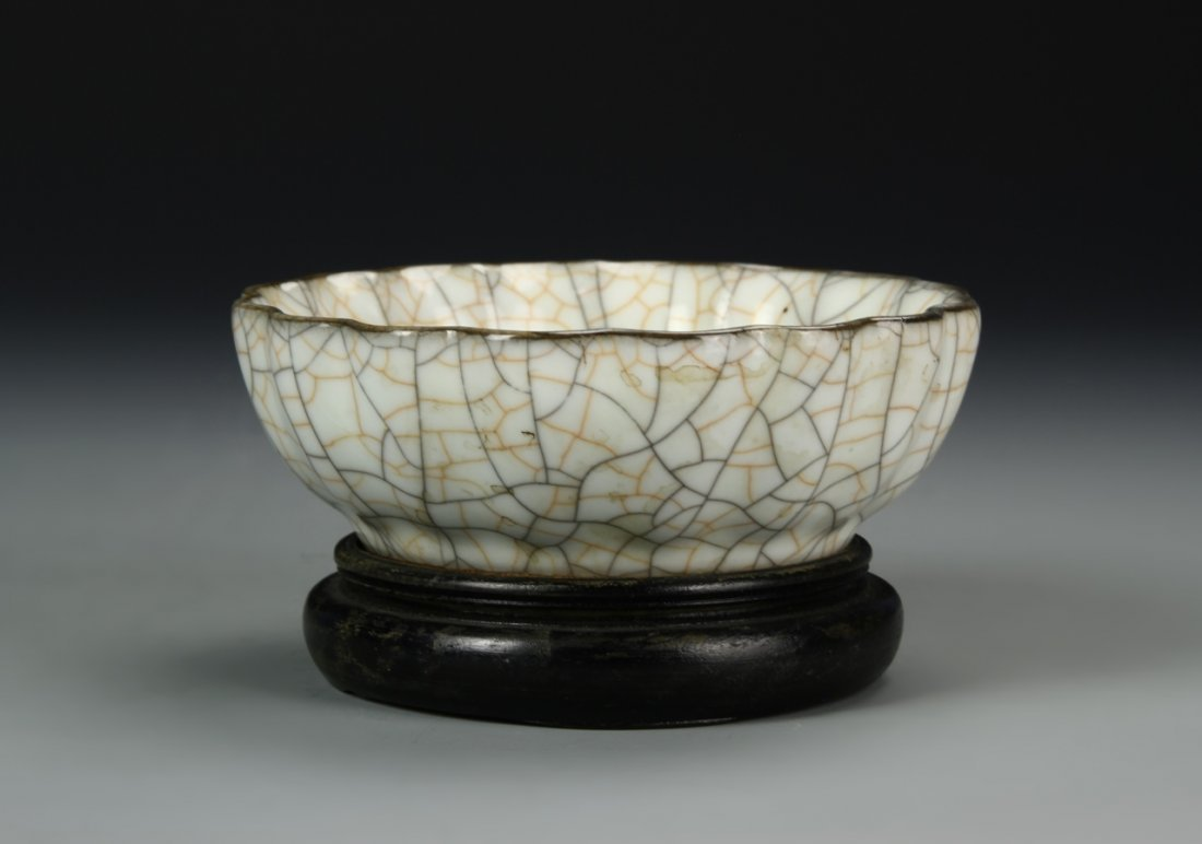 Chinese Crackled Foliate Bowl - 2