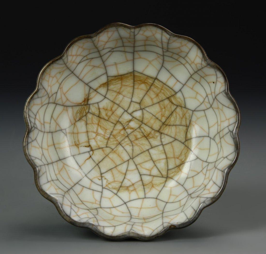 Chinese Crackled Foliate Bowl - 3