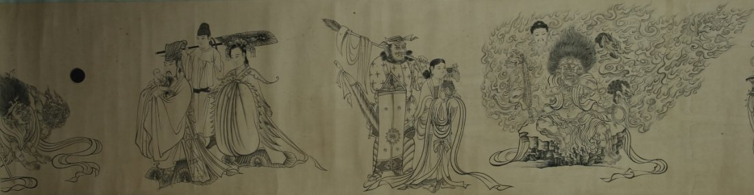 Chinese Hand Scroll Painting Of Demons - 3