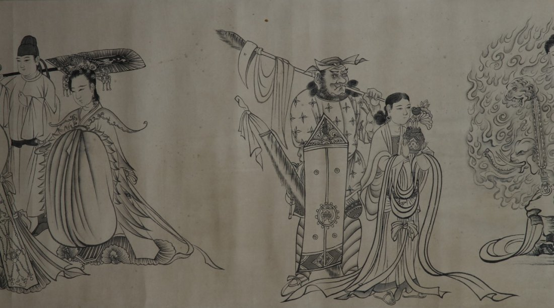 Chinese Hand Scroll Painting Of Demons - 4