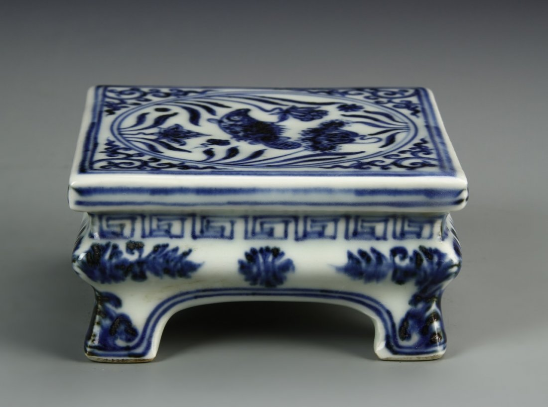 Chinese Blue And White Ink Bed