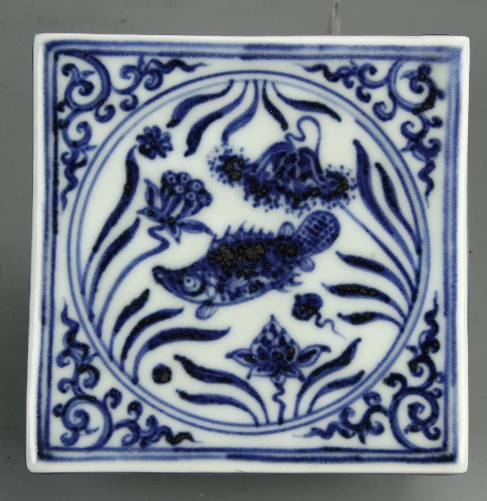 Chinese Blue And White Ink Bed - 3