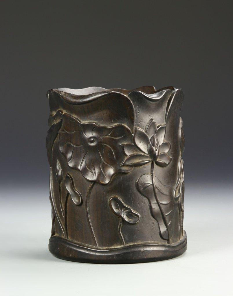 Chinese Hardwood Brush Pot - 2