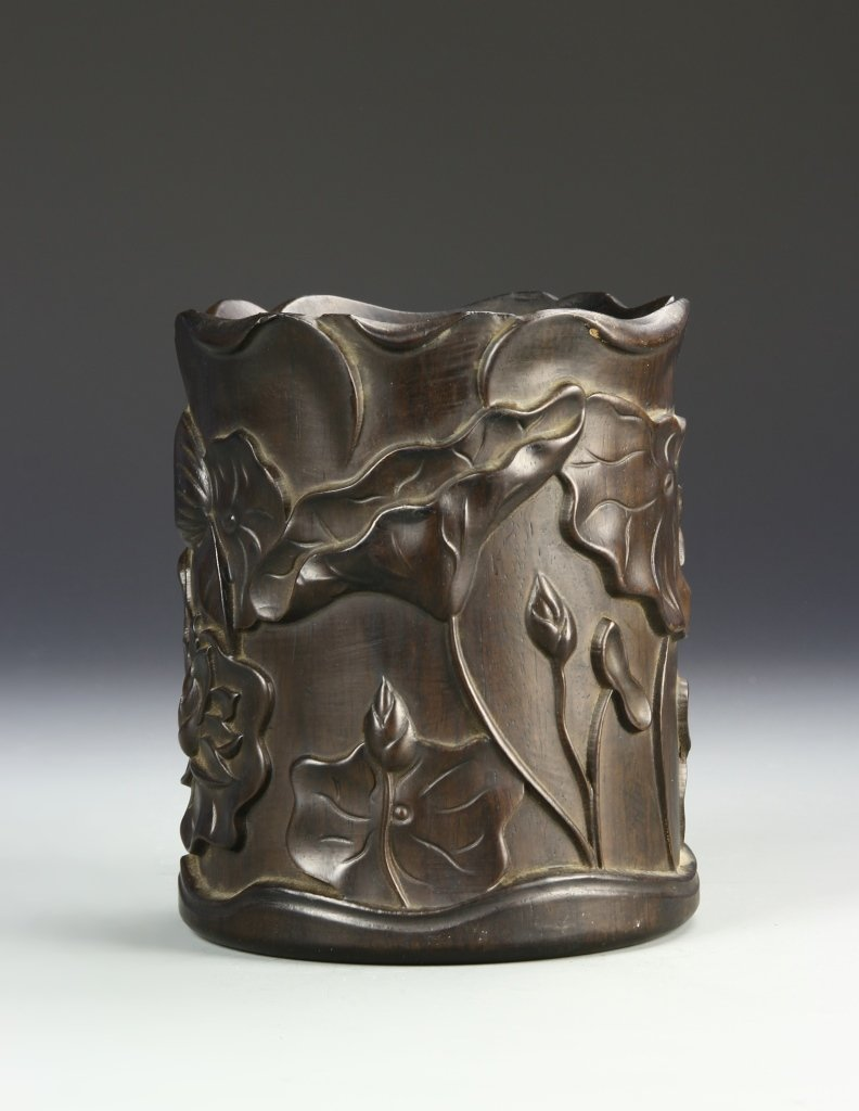 Chinese Hardwood Brush Pot - 3
